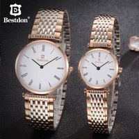 Bestdon Couple Watches For Lovers Luxury Unisex Stainless Steel Rose Gold Small Quartz Watch Man And Woman Waterproof Watches