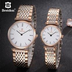 Bestdon Paar Uhren Für Liebhaber Luxus Unisex Edelstahl Rose Gold Kleine Quarzuhr Mann Und Frau Wasserdichte Uhren