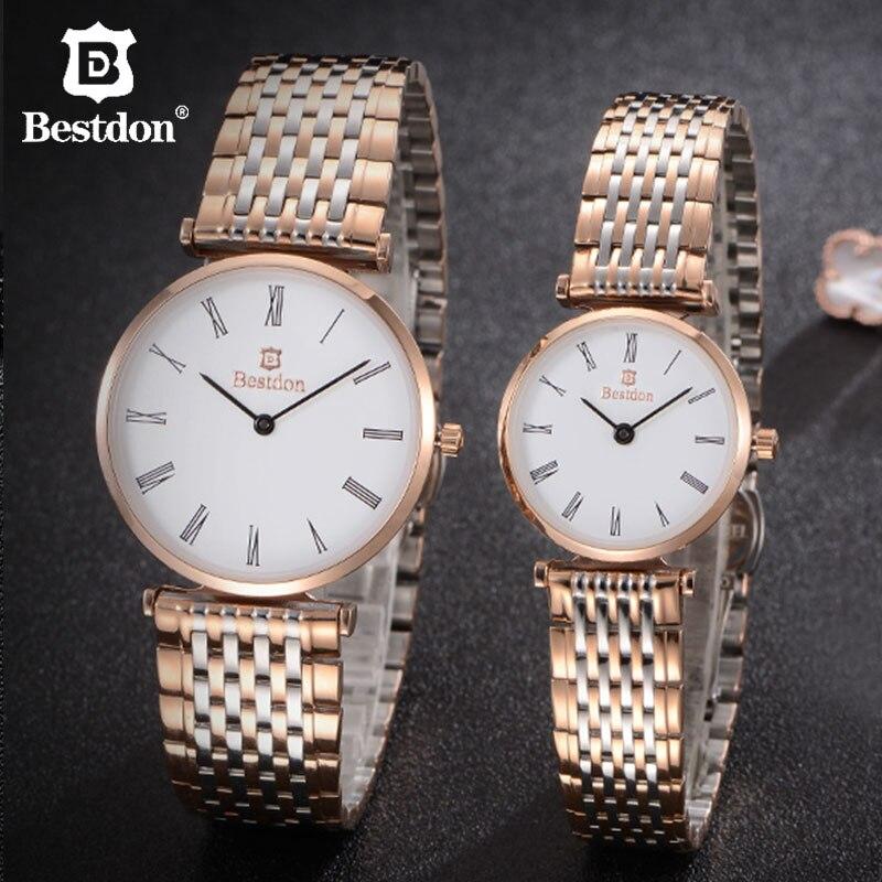 Casal para os Amantes de Luxo Rosa de Ouro Relógio de Quartzo Homem e Mulher Relógios à Prova Bestdon Relógios Unisex Inoxidável Pequeno d' Água Aço