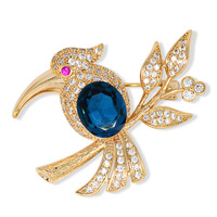 Fashion Crystal Branches For Women Woodpecker Wood Animal Brooch Pins Wedding Party Clothing Accessories Gold Color