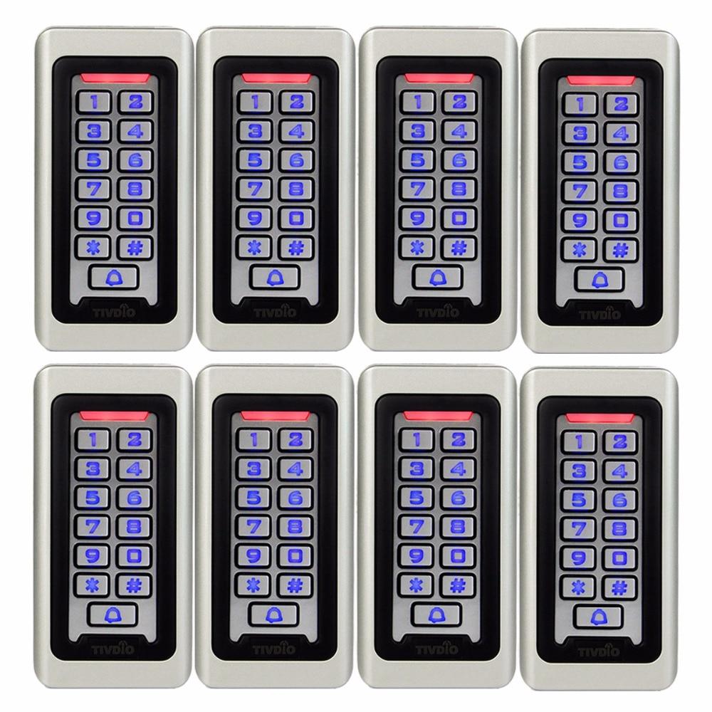 8pcs TIVDIO Keypad RFID Access Control System Proximity Card Standalone 2000 Users Door Access Control Waterproof Case F9501D metal rfid em card reader ip68 waterproof metal standalone door lock access control system with keypad 2000 card users capacity