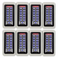 8pcs TIVDIO Keypad RFID Access Control System Proximity Card Standalone 2000 Users Door Access Control Waterproof Case F9501D