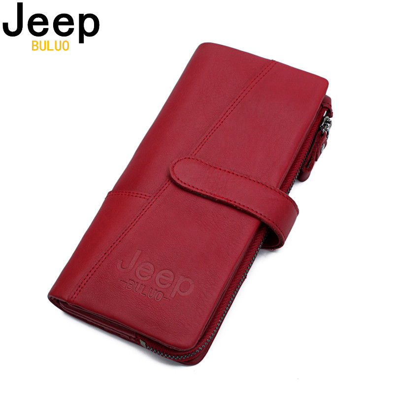 Red Wallet Jeep Buluo Genuine-Leather Clutch-Bag Coin-Purse Zipper Large-Capacity Fashion