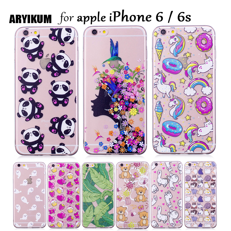 ARYIKUM Silicon Case For i Phone 6 6s apple Cases Unicorn Horse Slim Transparent Phone Accessories For iphoe 6 iphon6 Capinha ...