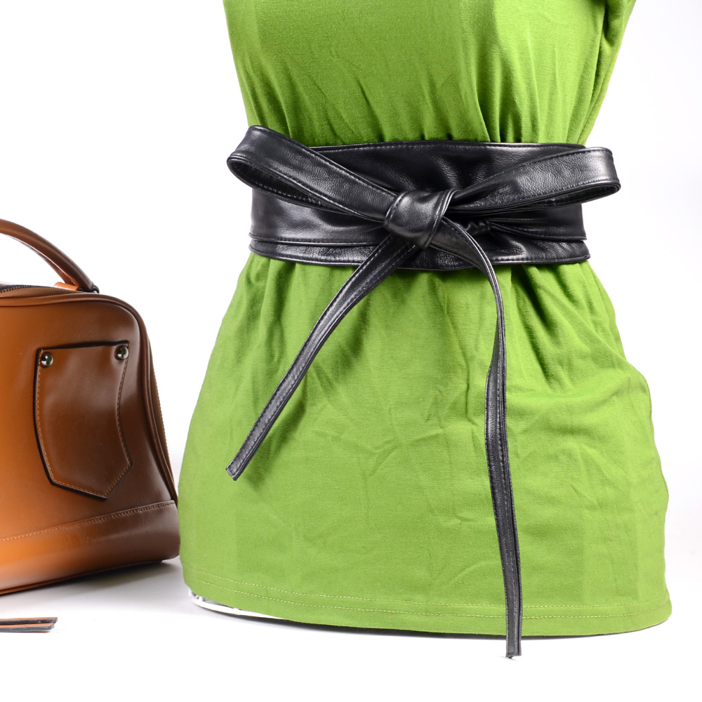 Women's Ladies Real Leather Waist Belt Bow Self Tie Wide Sash Dress Corset Waistband Cinch