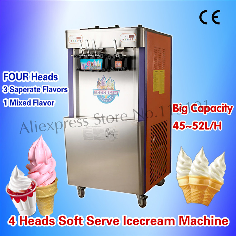 Soft Serve Ice Cream Machine Commercial Sundae Equipment FOUR Flavors Intelligent Operation Brand New edtid new high quality small commercial ice machine household ice machine tea milk shop