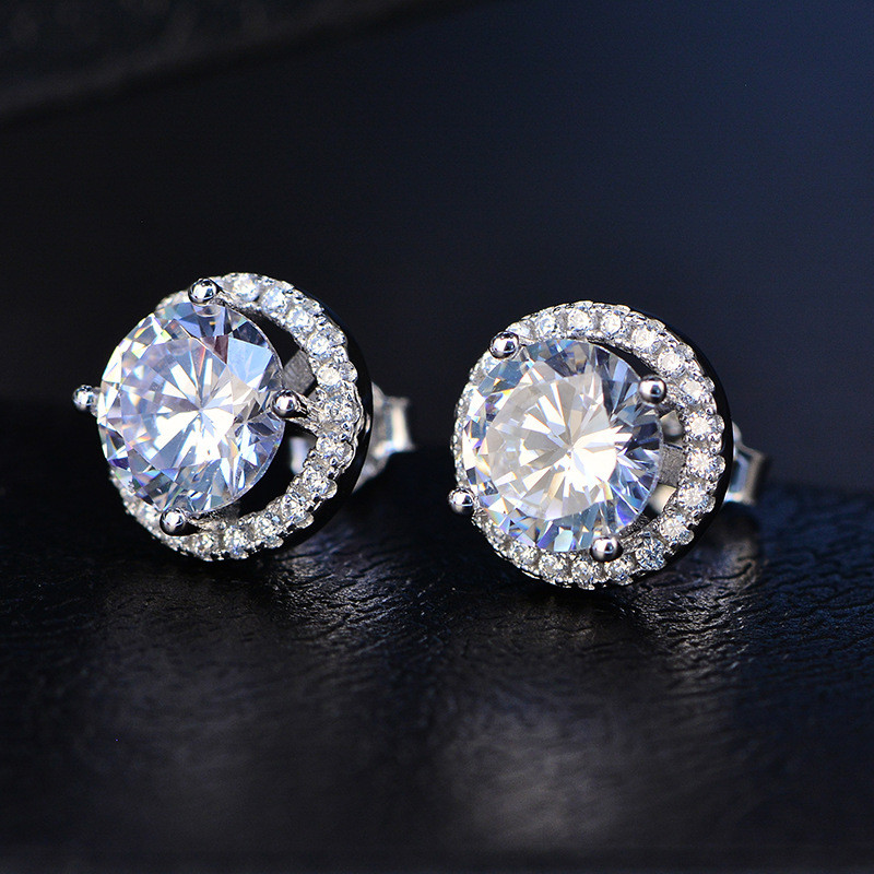 Stud Earrings For Women Classic S925 sterling-silver-jewelry Round Stone Super Flash Cubic Zirconia Diamant Fine Jewelry AretesStud Earrings For Women Classic S925 sterling-silver-jewelry Round Stone Super Flash Cubic Zirconia Diamant Fine Jewelry Aretes