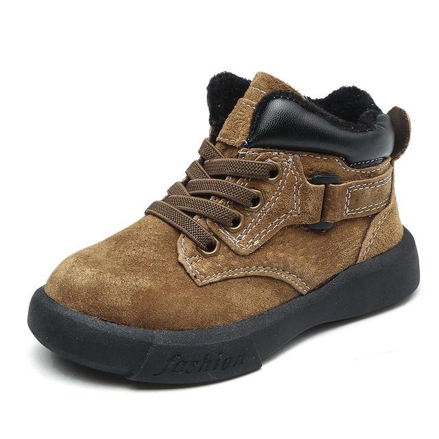 little boys ankle boots fashion khaki brown blk flexible sole warm genuine  leather boots chaussure bebe zapatos kids boots SandQ 3d31bf669969