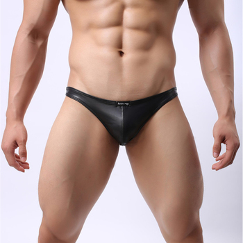 Faux Leather Mens Briefs Low Rise Slips Sexy Men Underwear U Convex Penis Pouch Gay Lingerie Erotic Brand Seamless Panty Male เมาส์