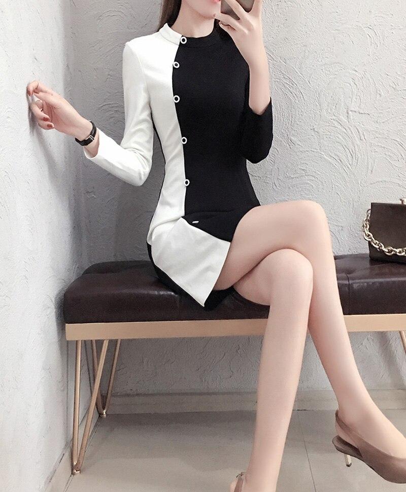 Mode Cou breasted Black De Bouton Robes Femmes A O Design Bureau Z788 Conception Court Unique Bloc Couleur ligne Single U7xnEffw