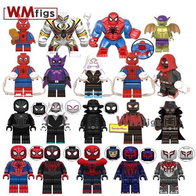 Filme Legoings Spiderman para o Versículo Presunto-Aranha Aranha Porcos Milhas Morales Green Goblin Asas de Gwen Stacy Blocos de Construção brinquedos