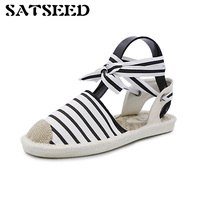 2017 New Summer Fringe Hemp Straw Shoelaces Shoes Sandals Straps Wear Fisherman Casual Party Dress Ankle Cross Strap Flat Shoes
