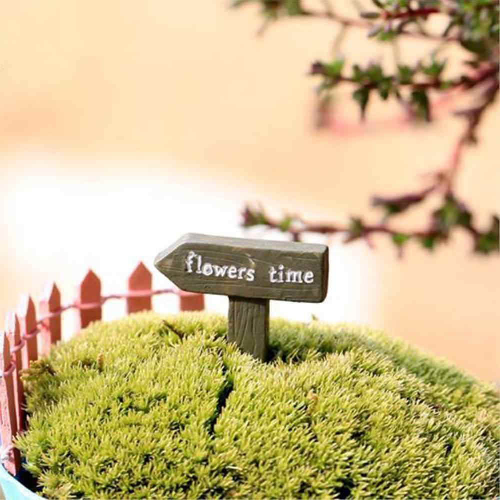 Resin Sign Board Bonsai Figurines Micro Landscape Crafts Signboard Miniatures Fairy Garden Moss Terrarium Decor D5