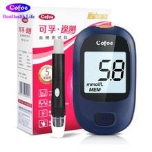 Cofoe Yice Glukosmätare med 50st band och 50st Lancets nålar för diabetes blodglukometer blodsockerdetekteringsenhet