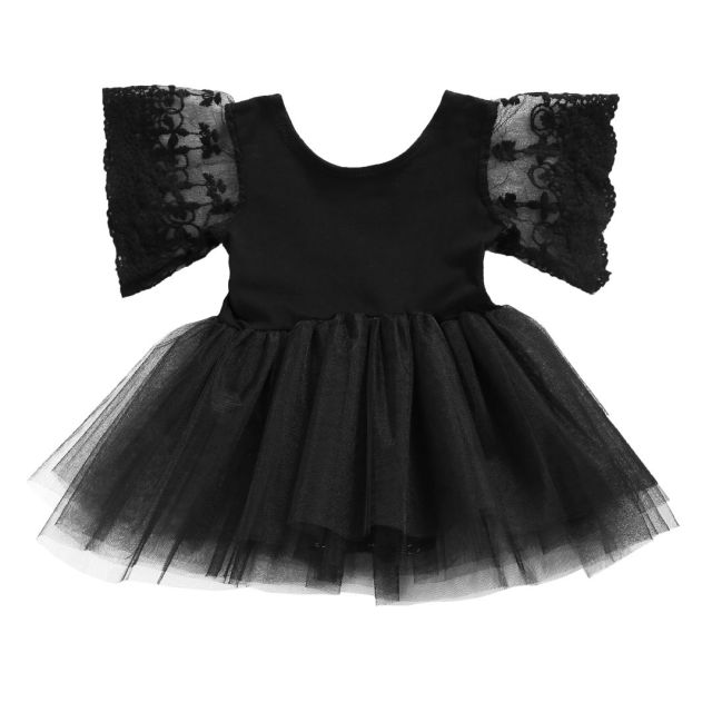 ffd794337a8f Newborn Kids Baby Girl Drsss Bodysuit Princess Tutu Dresses Summer Lace  Floral Children Clothing Black Outfits 0-3Y