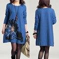 F & B bordado vestido de maternidad de algodón ropa de talla grande ropa para mujeres embarazadas impreso otoño ropa para el embarazo