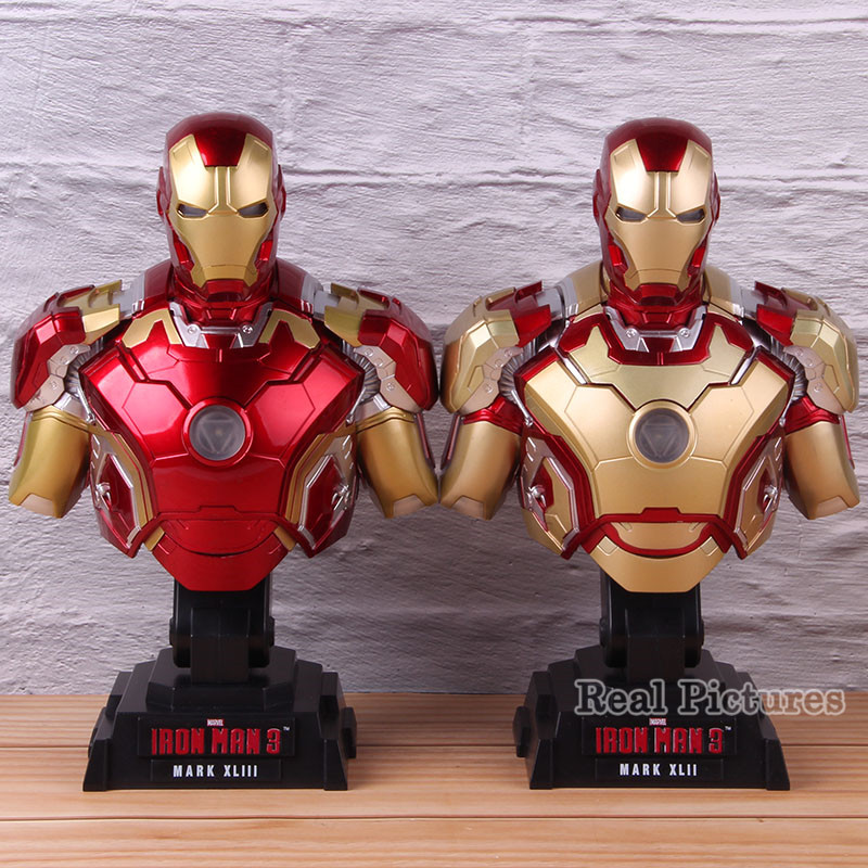 Marvel Iron Man 3 Mark XLII MK 42 MARK XLIII MK 43 <font><b>1/4</b></font> <font><b>Scale</b></font> <font><b>Figure</b></font> Iron Man Bust Statue Collectible Model Toy with LED Light image