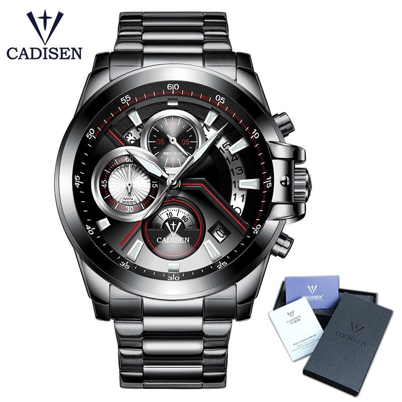 цены на CADISEN Hot Mens Watches New Fashion Army Brand Luxury Sports Casual Waterproof Mens Watch Quartz Stainless Steel Man Wristwatch в интернет-магазинах
