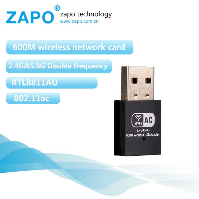 Zapo marca mini 600 mbps dupla freqüência 802.11n/g/b/ac ethernet lan usb 2.0 dongle wi-fi adaptador de cartão de rede wi fi sem fio ac