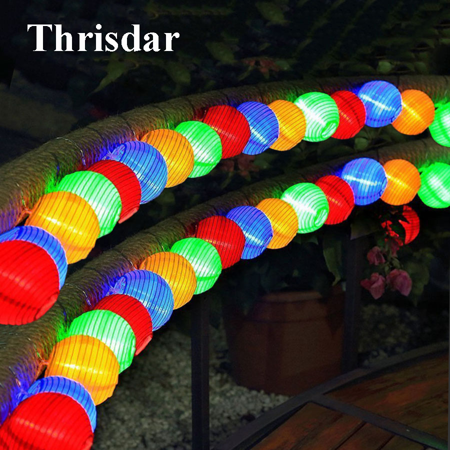 Thrisdar 6M 30 Lantern Ball Solar LED String Fairy Light Globe Ball Outdoor Garden Patio Christmas Garland Wedding Party Light цена
