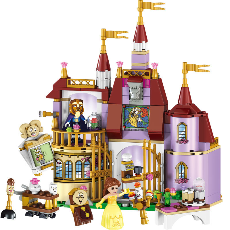 Educational Building Blocks Toys For Children Gifts Castle Girls Friends Princess Prince Mermaid Beauty Beast Snow Elsa Anna disney decoration birthday gifts beauty and the beast the little prince glass cover fresh preserved flowers rose children toys