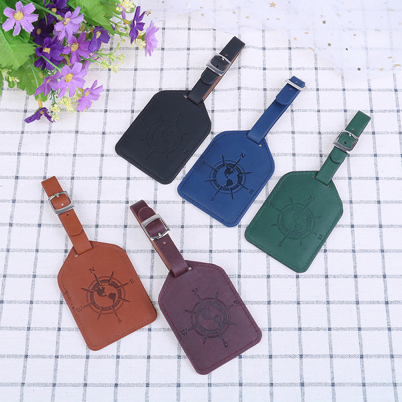 Compass PU Leather Suitcase Luggage Tag Bag Pendant Handbag Travel Accessories