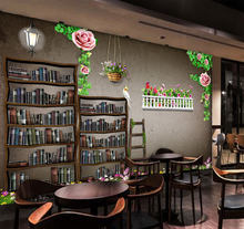 Custom mural custom 3D modern bookshelf pattern wallpaper mural library Bookstore West Restaurant leisure bar lounge wallpaper(China)