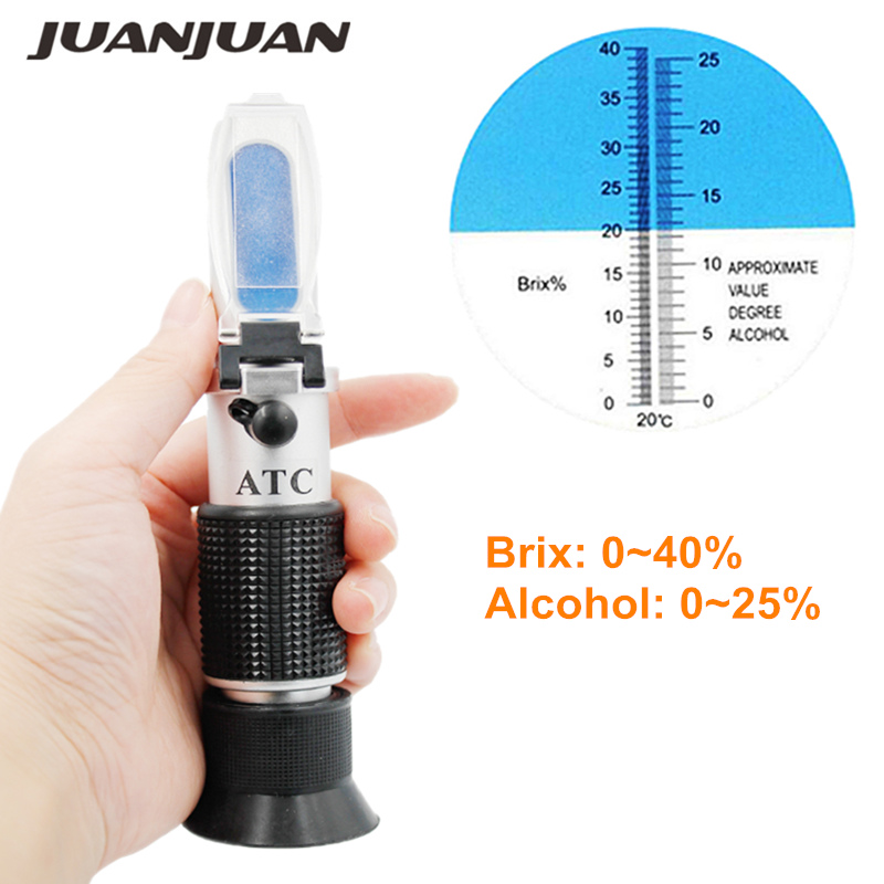 10pcs lot Wort Specific Gravity Refractometer wine Sugar Test Tool 0 40 Brix 0 25 Alcohol