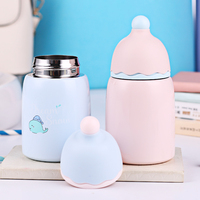 Mini Stainless Steel Kids Feeding Thermos Cup Portable Water Glass Lovely Children Milk Cup Leak Poof