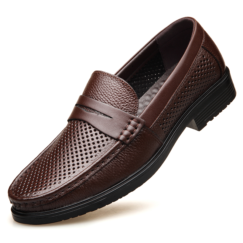 Dropshipping Men Flat Handmade Genuine Leather Casual Shoes Fashion Designer Men Leather Loafers Spring Autumn Men Shoes DB048 in Men 39 s Casual Shoes from Shoes