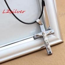 MIC 1pcs Mens Stainless Steel Silver Plain Jesus Christ Crucifix Cross Pendant Necklace  C-19