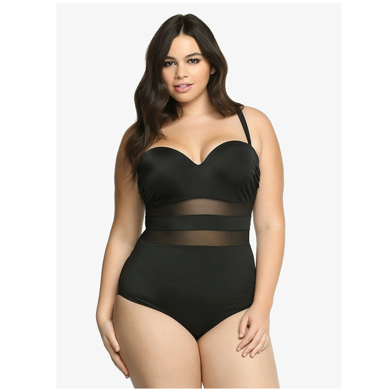 4XL Black Underwire Monokini One Piece Swimwear White 2019 Plus Size Үлкен Badpak Mesh Swimsuit Әйелге арналған жуынатын костюм Maio Big