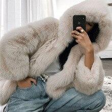 UPPIN женское повседневное цветное пальто из искусственного меха с капюшоном, большие размеры, Осень-зима, элегантная розовая теплая мягкая верхняя одежда, куртка более размера