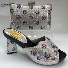 Capputine Italian Women's Shoes and Bag Set Decorated With R
