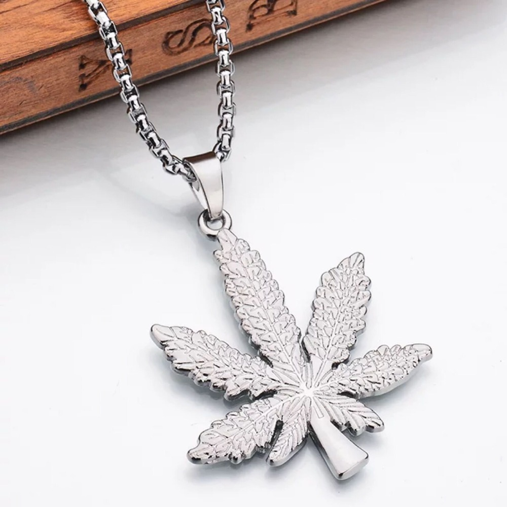 leaf file image maple pendant necklace zoom