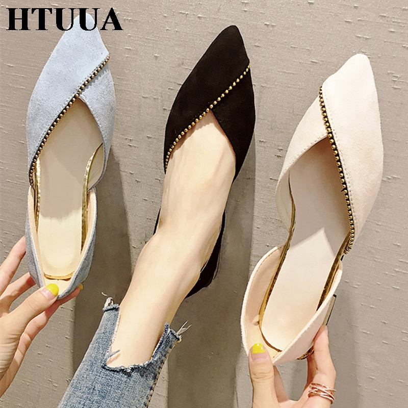 HTUUA 2019 New Spring Woman Flats Shoes Female Ballet