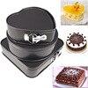 3pcs Set Metal Black Three Springform Pans Cake Mould Round Heart Square Shape Baking Mold Removable
