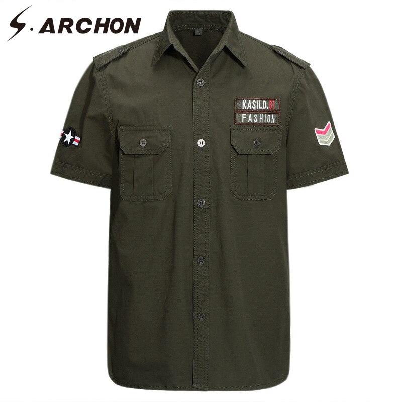 Legere Hemden Archon Militär Armee Stil Shirts Männer Sommer Stickerei Kurzarm Tactical Cargo Shirts Casual Baumwolle Shirts Workwear Männer Hoher Standard In QualitäT Und Hygiene S