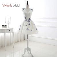 Vivian S Bridal V Neck Sleeveless Embroidery Butterfly A Line Homecoming Dresses Short 8th Grade Graduation