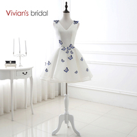 Vivian's Bridal V Neck Sleeveless Embroidery Butterfly A Line Homecoming Dresses Short 8th Grade Graduation Dresses SQ12426