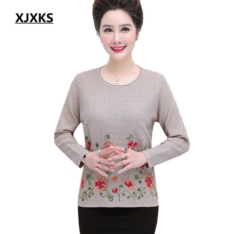 XJXKS automne pull femme pull broderie mode grande taille élégant femmes d'âge moyen tricot pull lâche pull femmes