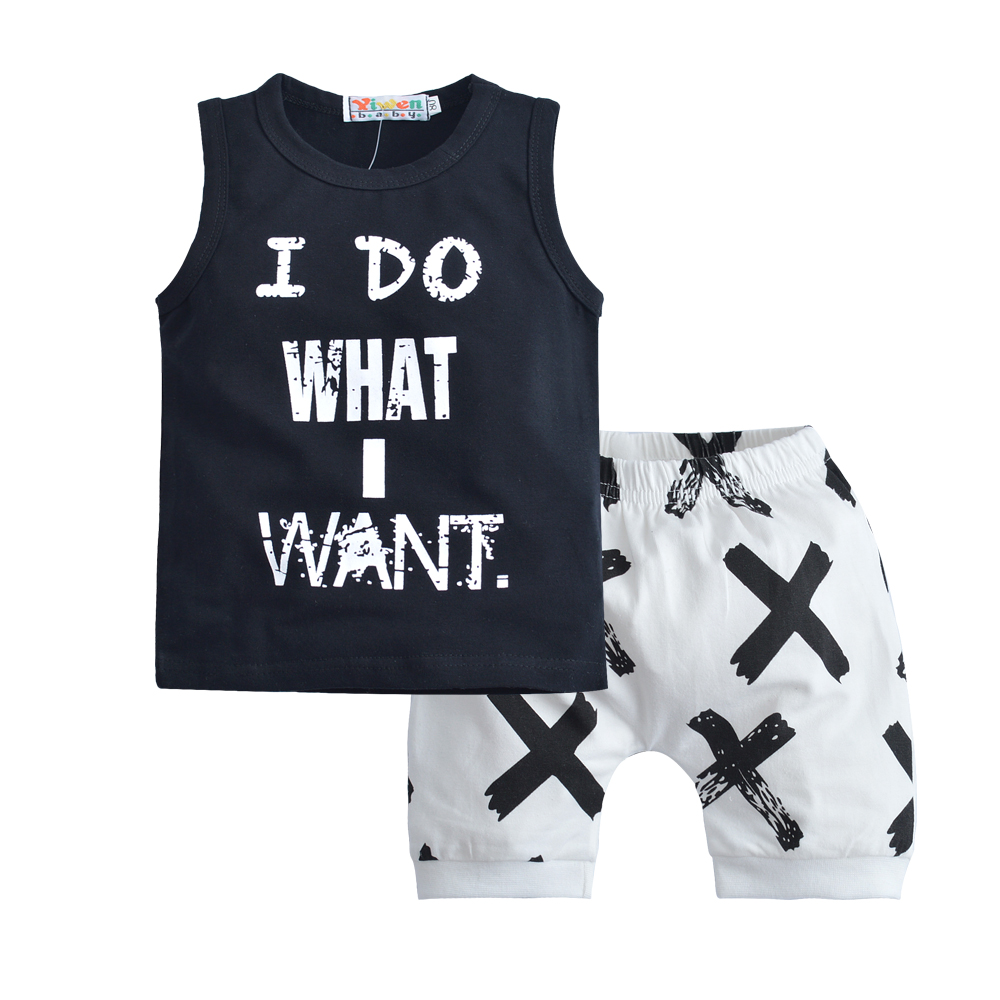 2018 Infant Toddler Baby Boy Girls Clothing Sets Letter print I DO WHAT I WANT Outfits T-Shirt + Shorts Lovley Boy Clothes Set