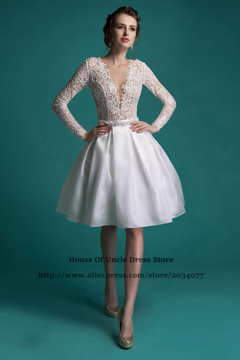 2017 Short Wedding Dresses Long Sleeve Lace Bridal Gowns Imported ...