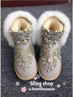 New winter sand white fairy rabbit fur grass rhinestone short tube female snow boots increased flat women's boots