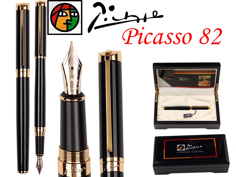 Fountain Pen Black M 10 K Solid Gold Nib Picasso 82 stationery the best gift Free Shipping 8pcs lot wholesale fountain pen black m 14 k solid gold nib or rollerball pen picasso 89 big executive stationery free shipping