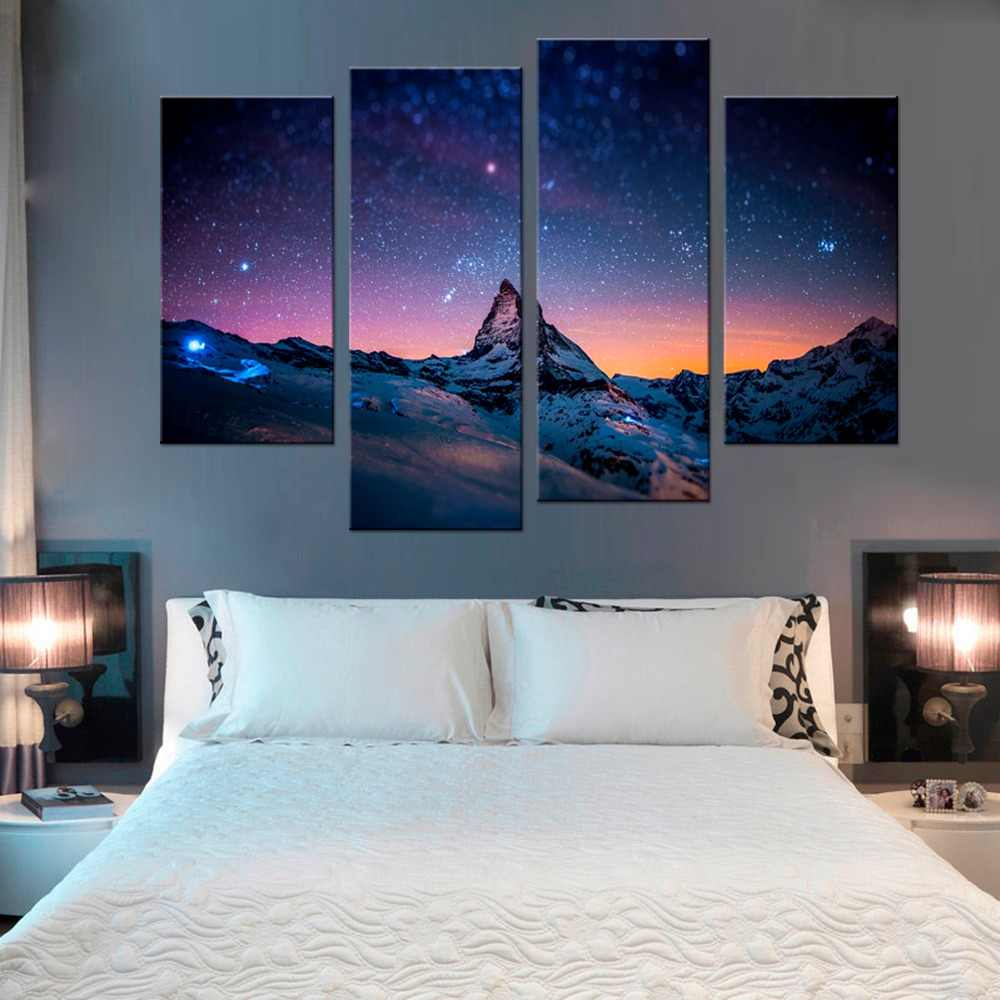 4 Pcs/Set  Polar Snow Mountain Star Poster Modular Painting on Canvas Pictures For Living Room Wall Art Modern Oil Painting
