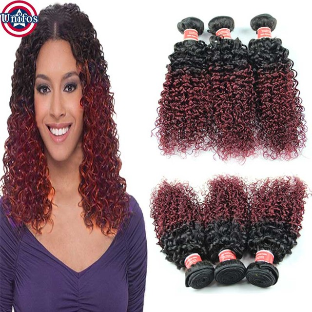 Ombre Brazilian Hair Jerry Curly Two Tone Human Hair Weave