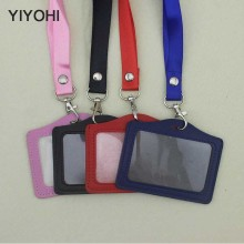 YIYOHI Name Credit Card Holders Women Men PU Bank Card Neck Strap Card Bus ID holders candy colors Identity badge with lanyard