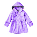 2017 Autumn Spring Kids Clothes Fashion Girls Windbreaker Pure Color Hooded Raincoat Girls Falbala Coat Jacket Children Clothing