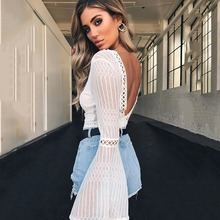 2018 Women Lace Bodysuit Sexy Deep V-Neck Flare Sleeve Playsuit Romper Ladies Backless Long Sleeve Hollow Out Body Suit Overalls